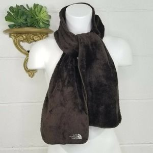 """The North Face Soft Plush Fleece Scarf brown Embroidered Logo 56"""" x 8"""" Unisex"""